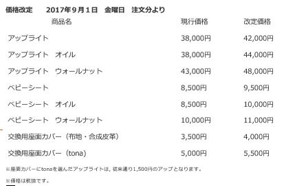 アップライト価格改定表